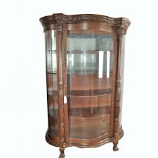 curved glass china cabinet oak lion head curved glass china cabinet ebth