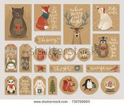 christmas kraft paper cards gift tags stock vector 730700065