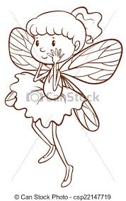 vector clip art of a simple sketch of a fairy illustration of a