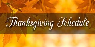 thanksgiving week schedule at fitness