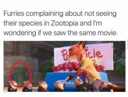 Furry Meme - furries complaining about not seeing their species in zootopia