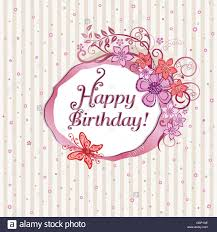 pink flowers and butterflies happy birthday card design stock