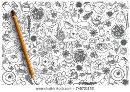 doodle indian indian food vector doodle stock vector 745721152