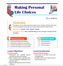 making personal life choices teaching resource for key stage 1