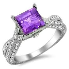 purple diamond engagement rings square cut purple amethyst diamond engagement ring