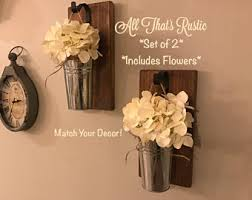 Wall Sconce Floral Arrangements Galvanized Metal Hanging Planter With Greenery Or Flowers