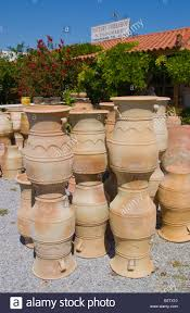 flower pot sale finished pots for sale at pottery in thrapsano on the greek stock