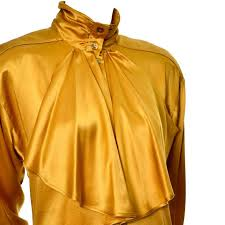vintage blouse gold silk vintage escada blouse with jabot and bishop sleeves size