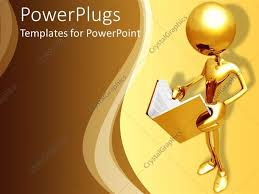 powerpoint template 3d golden figure holding and reading an