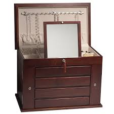 Jewelry Box Mirrored Armoire Aria Mahogany Jewelry Armoire With Lock Made From American Hardwood