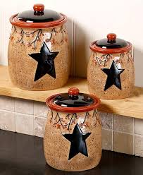 Kitchen Counter Canister Sets by Primitive Kitchen Pictures Star Berry Canisters Set Of 3 Country