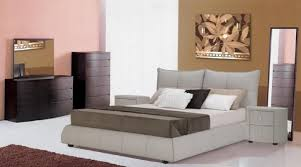 Modern Platform Bed With Lights - excite light grey leather platform bed with padded headboard new