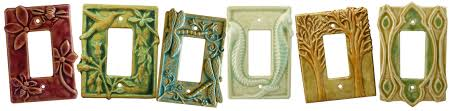 Hand sculpted ceramic art light switch plate and decorative outlet
