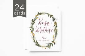 bulk christmas cards personalized christmas card set of 24 illustrated wreath custom