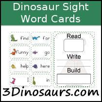 3 dinosaurs sight words printables
