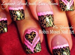 Nail Art Lace Design Leopard Print Nails Pink Lace Hearts Valentine U0027s Day Nail Art