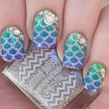 Rhinestone Nail Design Ideas Best 25 Mermaid Nail Art Ideas On Pinterest Beach Nail Designs