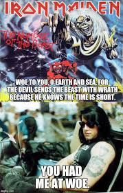 Iron Maiden Memes - image tagged in memes number of the beast iron maiden danzig heavy
