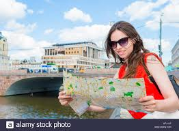 travel tourist with map outdoors during holidays in europe