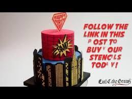 evil cake genius spider web superhero cake stencils youtube