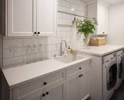 White Laundry Room Cabinets White Laundry Room Tiles With Black Grout Transitional Laundry