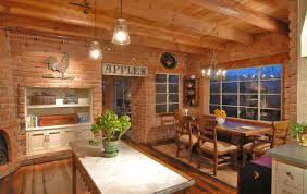 dining room brick fireplace with gray countertop and iron