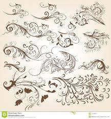 set of vintage vector swirl ornaments for design stock vector
