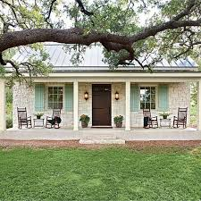 Big Rocking Chair In Texas Charming Texas Farmhouse Curb Appeal Stone Facade Oak Tree And