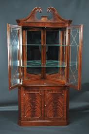 Home Decor Wholesale China by Pr Of Cherry Colonial Style Corner Cabinets Six Pane Bubble Glass