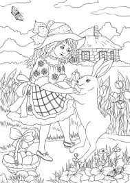 rabbits coloring pages a in a victorian dress is dancing with a rabbit coloring page