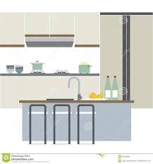 Flat Kitchen Design Modern Flat Design Kitchen Interior Stock Vector Image 46408980