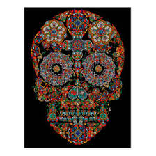 flower sugar skull cards greeting photo cards zazzle