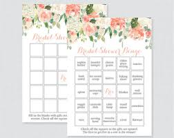 bridal shower gift bingo bridal shower bingo etsy