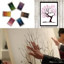 2017 60x75cm customized canvas fingerprint tree guest book ink pad