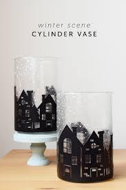 Dollar Cylinder Vases Winter Scene Cylinder Vase Decor Mod Podge Rocks
