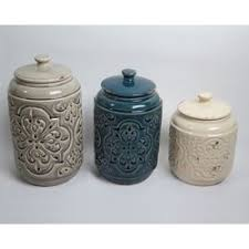 kitchen canister set ceramic drewderosedesigns rustic quilted 3 kitchen canister set