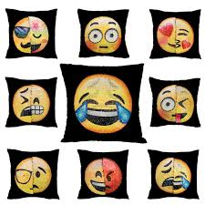 home decor free shipping emoji cushion cover reversible sequin pillow case changing