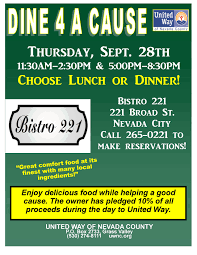 anyone in nevada county looking to build an affordable cabin sized dine 4 a cause at bistro 221 to benefit united way of nevada county