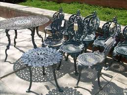 Metal Garden Chairs And Table Painted Set Of Four Atlanta Stove Works Cast Iron Garden Chairs