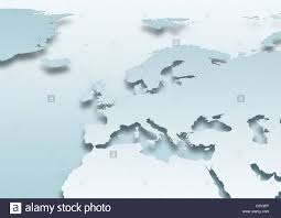 Western Europe Map by Map Western Europe Political Grey Land Grey Stock Photo