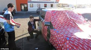 car wrapping paper shows rob cover parked cars in wrapping paper