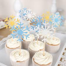 snowflake cake topper 20pcs set christmas cake topper paper wood wedding handmade