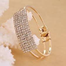 metal bracelet women images Fashion women lady rhinestone lots style gold metal jewelry cuff jpg