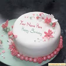 write flowers elegant cake happy birthday cake