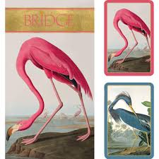 caspari cards audubon birds large type bridge gift set 2 card decks