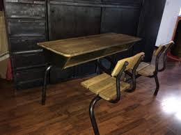bureau ecolier en bois bureau écolier 2 places bois et metal vintage les vieilles choses