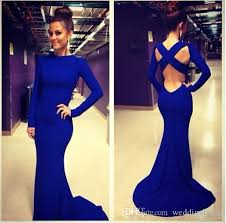 royal blue dress royal blue dress with sleeve cross backless mermaid