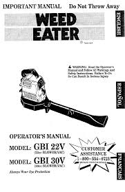 weed eater blowers gbi 22v pdf operator u0027s manual free download