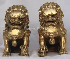 free shipping home decor china chinese brass bronze fengshui evil door fu foo dog lion beast jpg