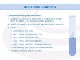 acid base reactions worksheet by goodscienceworksheets